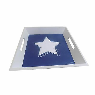 Shining For You Star White Blue 30 X 30Cm Wooden Serving Tray