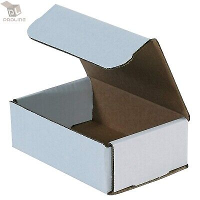 "100 - 6.5"" x 4"" x 2"" White Corrugated Shipping Mailer Packing Box Boxes"