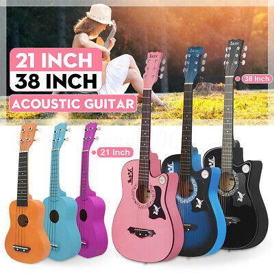 21'' 38'' Xmas Wood Acoustic Guitar Ukulele Classical Kids Children's Gifts IRIN