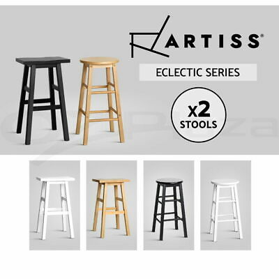 Artiss Wooden Bar Stools Kitchen Bar Stool Counter Chairs Barstools Black White
