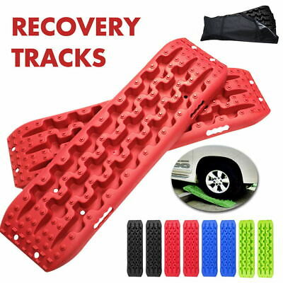 1 Pair Red Recovery Tracks 10T Sand Track With Bag Sand/Snow/Mud Trax 4WD New AU