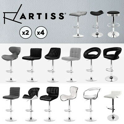 Artiss Kitchen Bar Stools Gas Lift Stool Chairs Swivel Barstools Leather Black