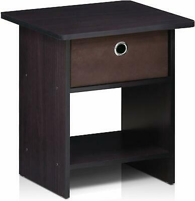 Furinno Walnut Bedside Occaisional Side End Tables with Drawer