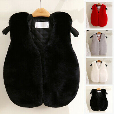 Toddler Kids Girls Boys Faux Fur Vest Gilet Winter Waistcoat Coat Body Warmer