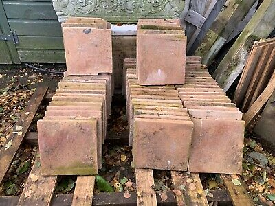 Reclaimed 9in x 9in pale red/orange quarry floor tiles 1 1/2in thick