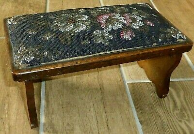 Rare Antique Victorian Folding Walnut Footstool with Original Beadwork c1870