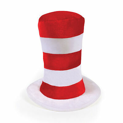Red & White Striped Top Hat for Childs Wally Cat Book Week Hat Fancy Dress