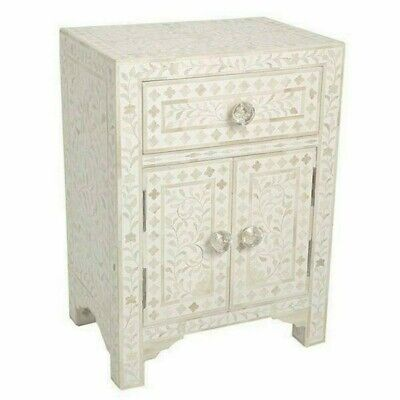 Handmade MOP Inlay 1 Drawer 2 Door Bedside Table Nightstand Mother of Pearl