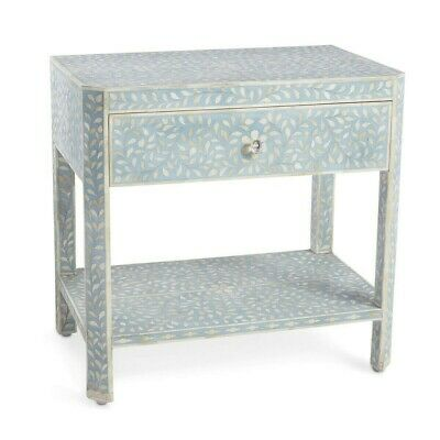 Handmade Blue Floral Pattern Bone Inlay Bedside Table