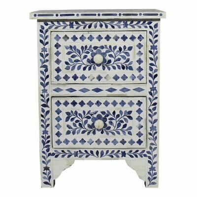Handmade Blue Colored Bone Inlay Bedside Table Nightstand