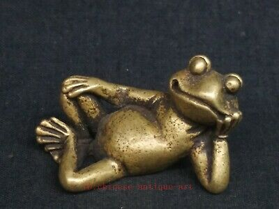 Antique Collection Chinese Bronze Carving Frog Statue Paperweight Decoration