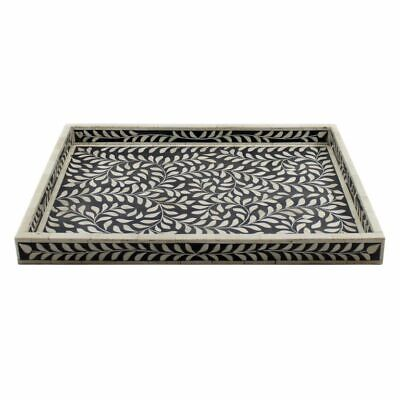 Handmade Bone Inlay Leaves Pattern Large Size Tray