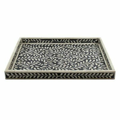 Handmade Bone Inlay Leaves Pattern  Extra Large Size Tray