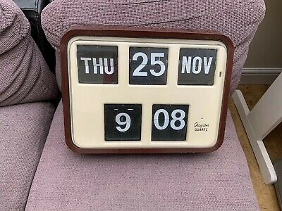 Vintage Grayson Brown Digital Retro Calendar Wall Flip Clock Bank Shop