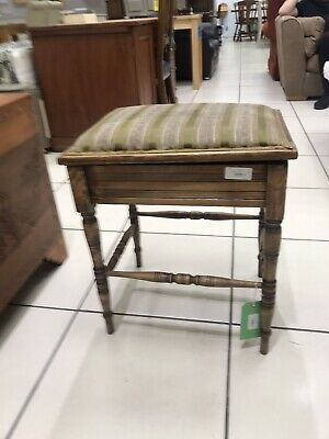 Antique Piano Stool Fabric Top (Delivery Available)