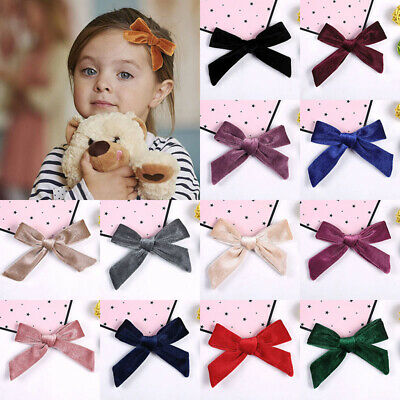 Baby Girls Solid Color Soft Velvet Bowknot Headband Kids Toddlers Hair Band Clip
