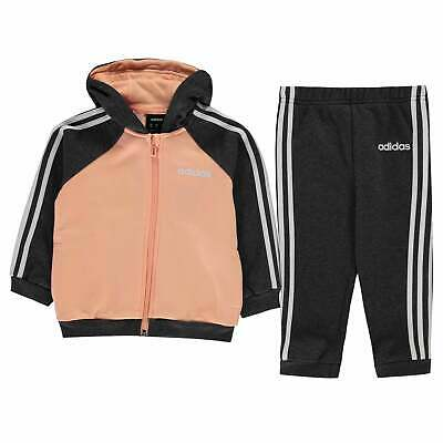 adidas 3 Stripe Zipped Hooded Tracksuit Girls Fleece Zip Elasticated Trim Colour