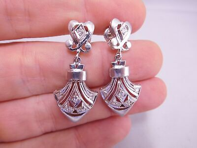 Deco Design 14K Solid White Gold Filigree Diamond Stone Dangle Earrings