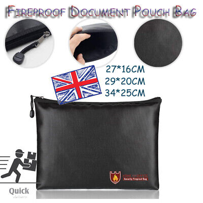 3 Sizes Fireproof Document Bag Envelope Fire Resistant Money Pouch Waterproof