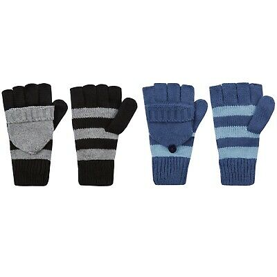 Unisex Fingerless Gloves With Fold Over Protective Finger Flap Striped ONE SIZE
