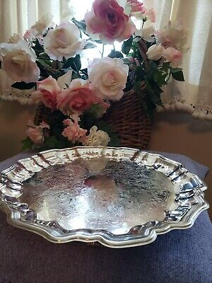 """13.5"""" Vintage Leonard Silverplate Round Serving Tray Footed"""