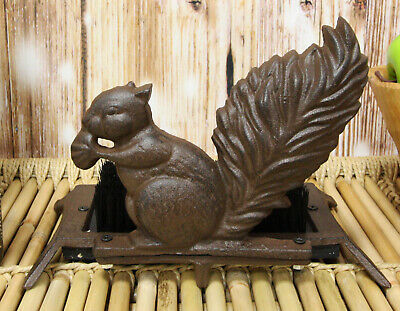 Cast Iron Rustic Vintage Squirrel Nibbling Acorn Small Boot Brush Cleaner Statue