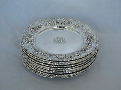 Set of 12 Vintage Kirk Sterling Silver Repousse #128 Bread or Small Salad Plates
