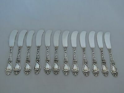 Set of 12 Frank Whiting Sterling Silver Lily / Floral Flat Butter Spreaders