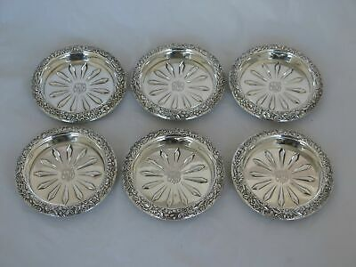 Set of 6 Vintage S. Kirk & Son Inc Sterling Silver Repousse #23 Unusual Coasters