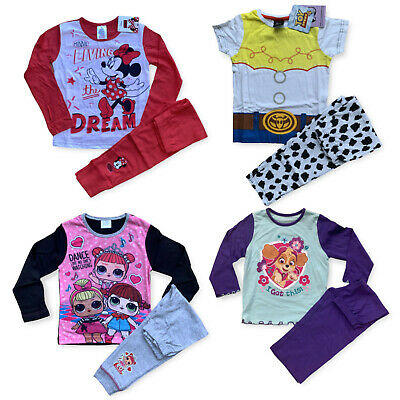 Girls Pokemon Disney Belle Pyjamas Top & Long Bottoms Set Baby Age 1 - 8 Years
