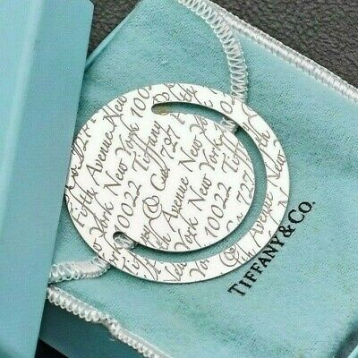 Tiffany & Co. Vintage Sterling Silver Etched Round Circle Bookmark & Box 11.8G