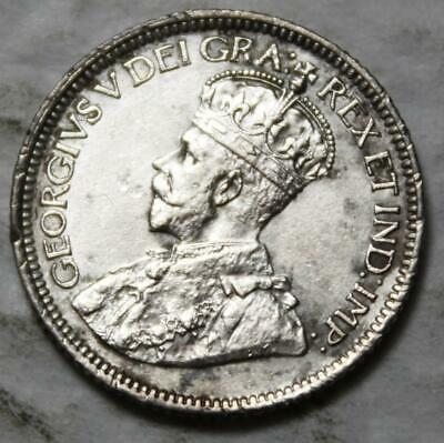 Canada 1931 Silver 10 Cents, High AU Grade & Lustrous, Old Date KGV