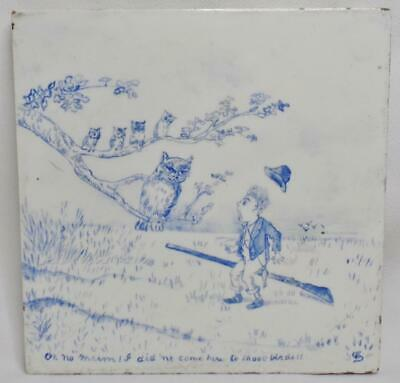 Antique Minton Hollins Hand Painted Artist Signed Story Picture Whimsical Tile