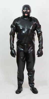 8161 Latex loose Full Catsuit Rubber Gummi Jumpsuits mask hood customized 0.4mm
