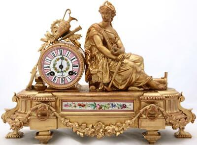 Antique French Mantle Clock 8 Day Elegant Gilt Metal & Hand Painted Pink Sevres
