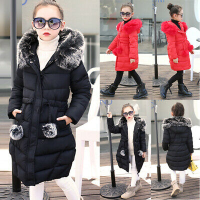 Kids Girls Winter Warm Faux Fur Hooded Coat Slim Cotton Padded Jacket Outerwear