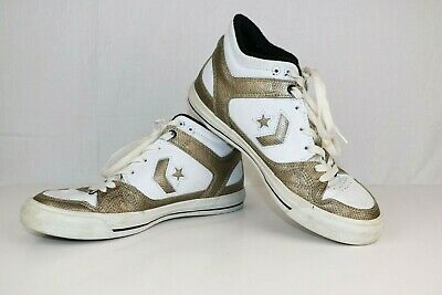 Converse Fastbreak Womens Size 8 White Gold Shoes Skateboard Leather High Tops
