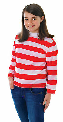 Childs Red/White Striped Top Costume Wally Book Week Fancy Dress Outfit