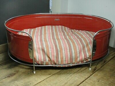Vintage Art Deco Chrome & Red Steel Hendryx Pet Dog Bed