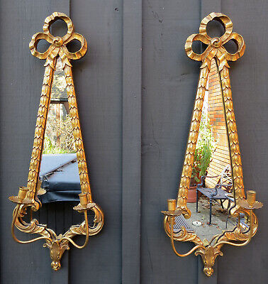 """34"""" PAIR Friedman Brothers gold gilt mirror candle holders wall sconces"""
