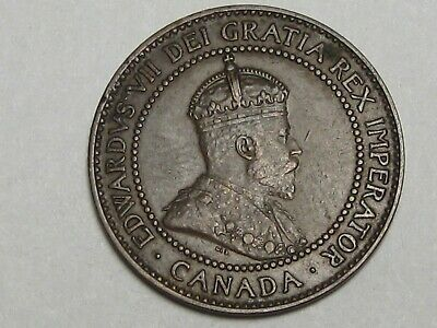 High-Grade 1909 Canadian Large Cent Coin (w/ Full Crown): Edward VII. CANADA.