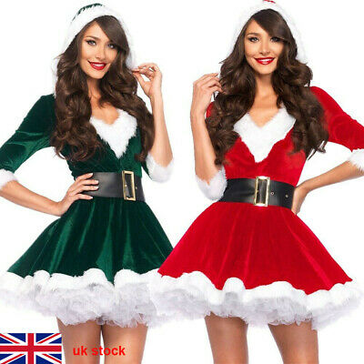 Women Santa Claus Elf Costume Dress Christmas Party Cosplay Clothing Garment