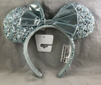 Disney Park Minnie Mouse Ears Bow Arendelle Blue Frozen Aqua Headband Hat NEW