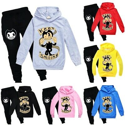 Bendy and the Ink Machine Kid Tracksuit Sets Hooded Top+Pants Keep Smiling