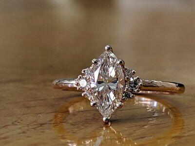 2 Ct Marquise Cut Diamond 14k Solid Gold Over Solitaire Engagement Wedding Ring