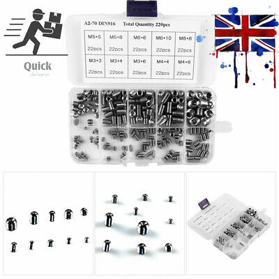 200Pcs Stainless Steel Allen Head Socket Hex Grub Screw Set Assortment Cup Point