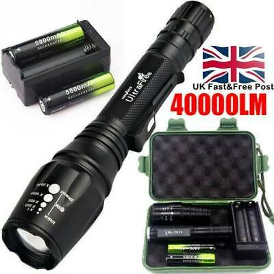 Tactical 350000LM 5Modes T6 LED Flashlight Zoomable Torch+battery+Charge+Case UK
