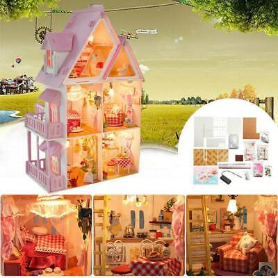 DIY Doll house Miniature Wooden Furniture Dollhouse Kits Doll House Xmas Gift AU