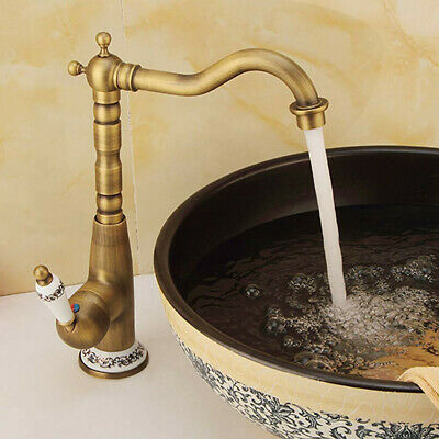 Bathroom / Kitchen Taps Hot & Cold Mixer Tap One Hole 360° Swivel Antique Brass