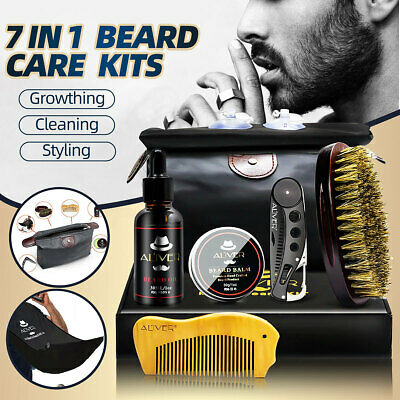AU 7Pcs Beard Care Styling Clean Kits Brush Comb Grooming Oil Balm + Box Gift